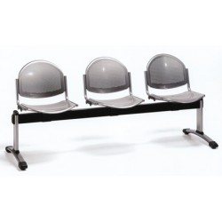 Siège poutre 4 places assise et dossier metal perfore epoxy noir