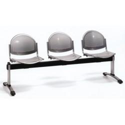 Siège poutre 3 places assise et dossier metal perfore gris verni