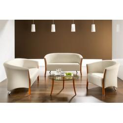 Table basse Classico diam 80 cm bois + chromé verre clair
