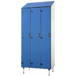 Vestiaire stratifié industrie salissante 3 cases L120xP50,5xH192 cm