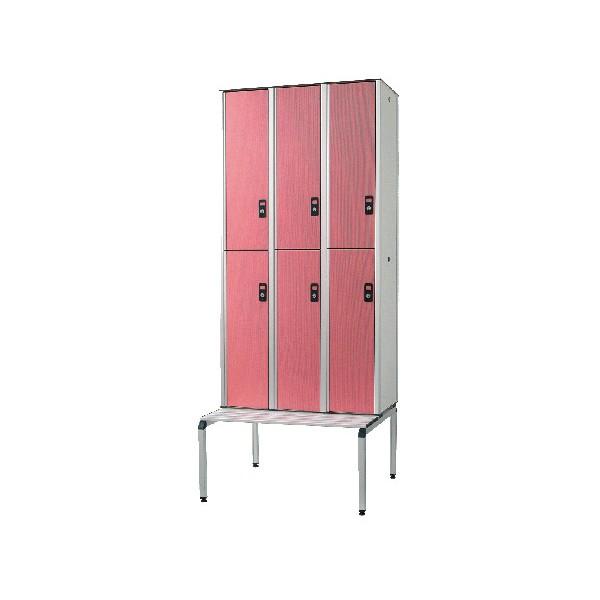 Vestiaire stratifié multicasiers 6 cases L120xP50,5xH192 cm