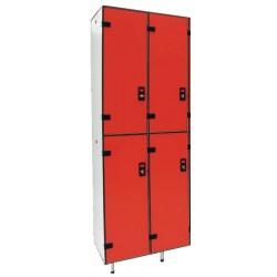 Vestiaire stratifié multicasiers 4 cases L80xP50,5xH192 cm