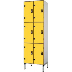 Vestiaire stratifié multicasiers 6 cases L80xP50,5xH192 cm