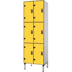 Vestiaire stratifié multicasiers 6 cases L80xP50,5xH192 cm