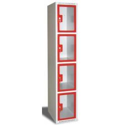 Armoire multicases portes plexi 1 colonne 4 cases L40xP49xH180 cm