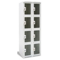 Armoire multicases portes plexi 2 colonnes 8 cases L60xP49xH180 cm
