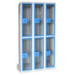 Armoire multicases portes plexi 3 colonnes 6 cases L90xP49xH180 cm