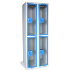 Armoire multicases portes plexi 2 colonnes 4 cases L60xP49xH180 cm