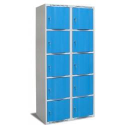 Vestiaire multicases portes bombées 2 colonnes 10 cases L60xP49xH180 cm