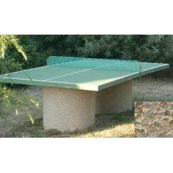 Table ping-pong en béton pieds ronds gravillons lavés gros