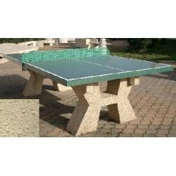 Table ping-pong en béton pieds en ton pierre sablé