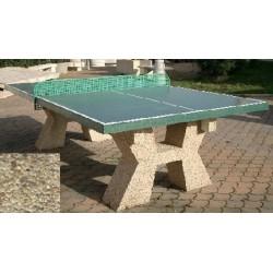 Table ping-pong en béton pieds en gravillons lavés fins