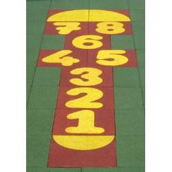 Marelle 11 dalles avec chiffres de 1 à 8 à ép 25 mm