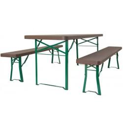 Ensemble brasserie polyéthylène L220 cm : 1 table et 2 bancs