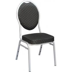 Chaise empilable Confort non feu noir et argent