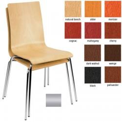 Lot de 4 chaises empilables Café monocoque bois teinté pieds alu
