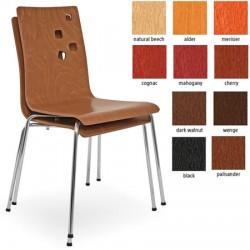 Lot de 4 chaises empilables Ammi monocoque bois teinté pieds chromé