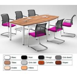 Table de réunion tonneau pieds carrés alu 200x120 cm