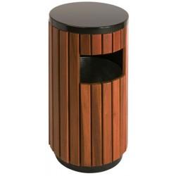 Poubelle extérieure ronde évolution acier et bois 33L