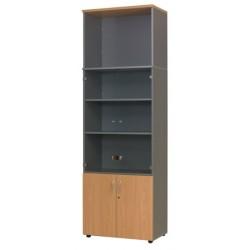 Bibliotheque manager 2 portes basses et 2 portes vitrées L80xP47xH245 cm 5 tablettes bois