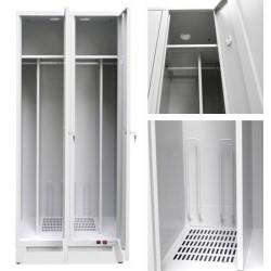 Vestiaire sechant 2 cases sur pieds biaises 2000 w L80xP49xH194 cm