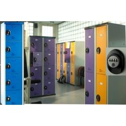 Vestiaires multicasiers à monter 5 portes avec serrure à code H180xP50xL40 cm