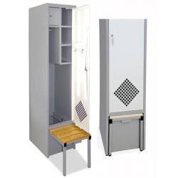 Armoire vestiaire individuelle avec socle banc rétractable
