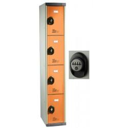 Vestiaires multicasiers à monter 4 portes avec serrure à code H180xP50xL30 cm
