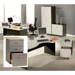 Caisson Stratus hauteur bureau P80 cm 3 tiroirs finition gris clair et anthracite