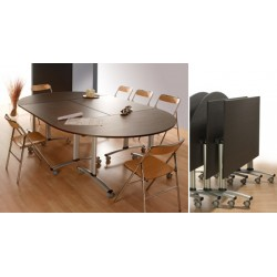 Table rabattable mobile Celcius 140x80 mélaminé 22 mm chant PVC
