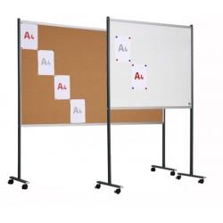 Panneau d'affichage double face liège et émail blanc sur pieds mobiles 15 A4