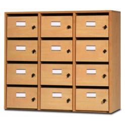 Meuble courriers 3 colonnes 12 cases L90,5xP40xH80 cm