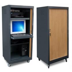 Armoire informatique métal mobile à rideau L70xP60xH170 cm