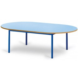 Table maternelle Elise stratifié pieds métal ovale 150x90 cm TC à T3