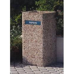 Poubelle béton carrée 70L 40x40xH85 cm gravillons lavés gros