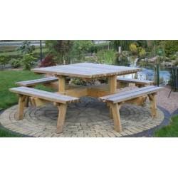 Table de pique-nique carrée sans dossier 200x200 cm