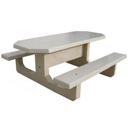 Table pique-nique monobloc ovale en béton blanc
