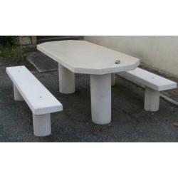 Table pique-nique ovale à dégagement latéral en béton coloré