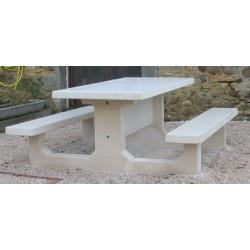 Table pique-nique monobloc rectangle en béton blanc