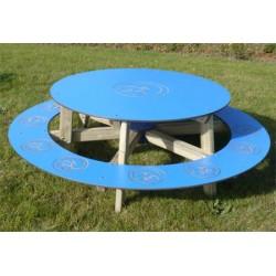Table banc ronde des petits peinte diamètre 150 cm
