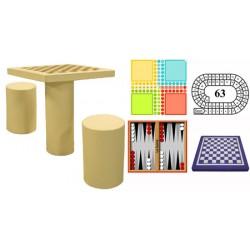 Table de jeux avec 2 tabourets béton coloré