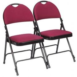 Lot de 4 chaises pliantes accrochables Loan assise et dossier tissu M1