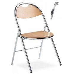Lot de 4 chaises pliantes accrochables Lucie assise hetre