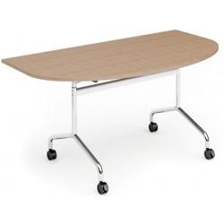 Table mobile et rabattable Oxygène demi rond 160x90 cm structure alu