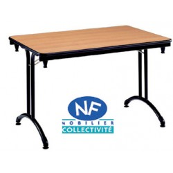 Table pliante Omega stratifiée ép. 24mm chant alaise 1/4 ronde r70 cm