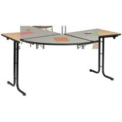 Table pliante Delta 1/4 rond 70 mélaminé 22 mm chant antichoc sans pied