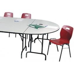 Table pliante Alpha 1/2 rond 140x70 cm mélaminé 22 mm chant PVC