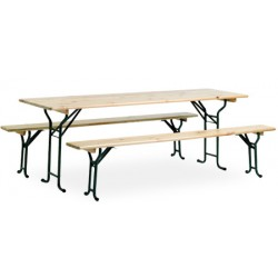 Ensemble festivites Eco : 1 table 220x80 cm et 2 bancs
