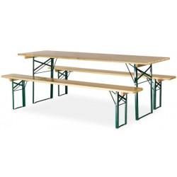 Ensemble Horn Eco : 1 table 220x80 cm et 2 bancs