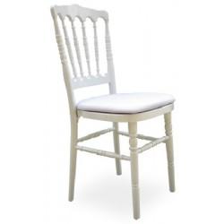 Lot de 4 chaises empilables Napoléon  bois blanches avec coussin